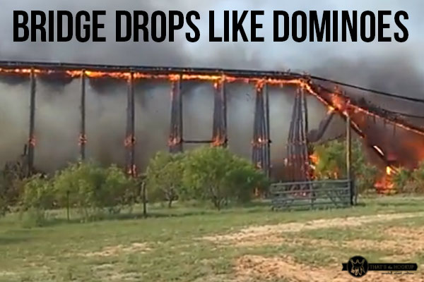 Railroad bridge collapses in Texas fire